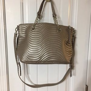 Max Studio Metallic Taupe Quilted Faux Leather Bag